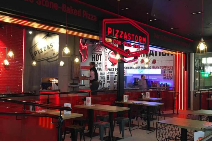 Pizza Storm polished concrete hospitality flooring