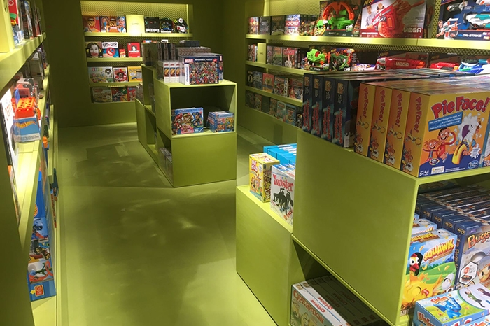 Harrods toy department in ardex pandomo loft polished concrete