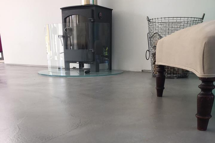 residential Ardex Pandomo Loft polished concrete flooring in mid grey