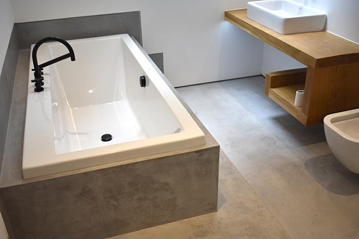 Bathroom wet room polished concrete floor in mid grey ideal work