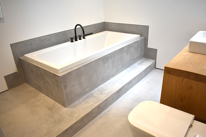 residential polished concrete wet room microtopping ideal work