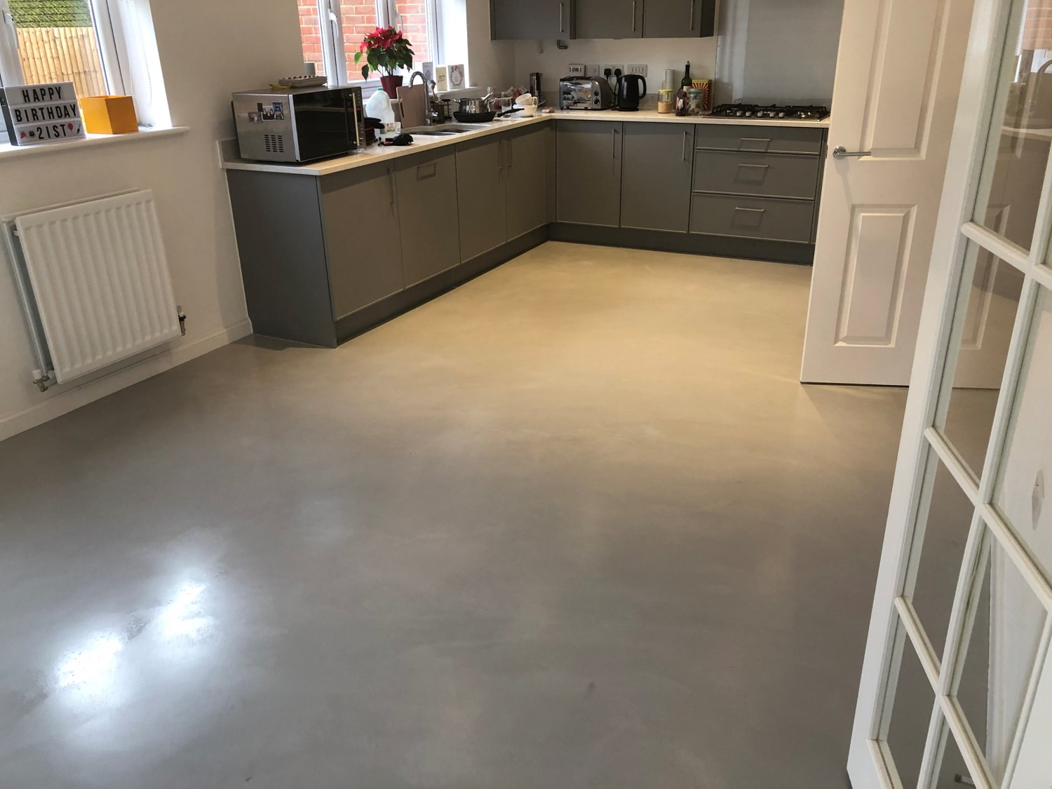 Polished concrete floor Kitchen diner in Bedfordshire by Polished Concrete Specialists