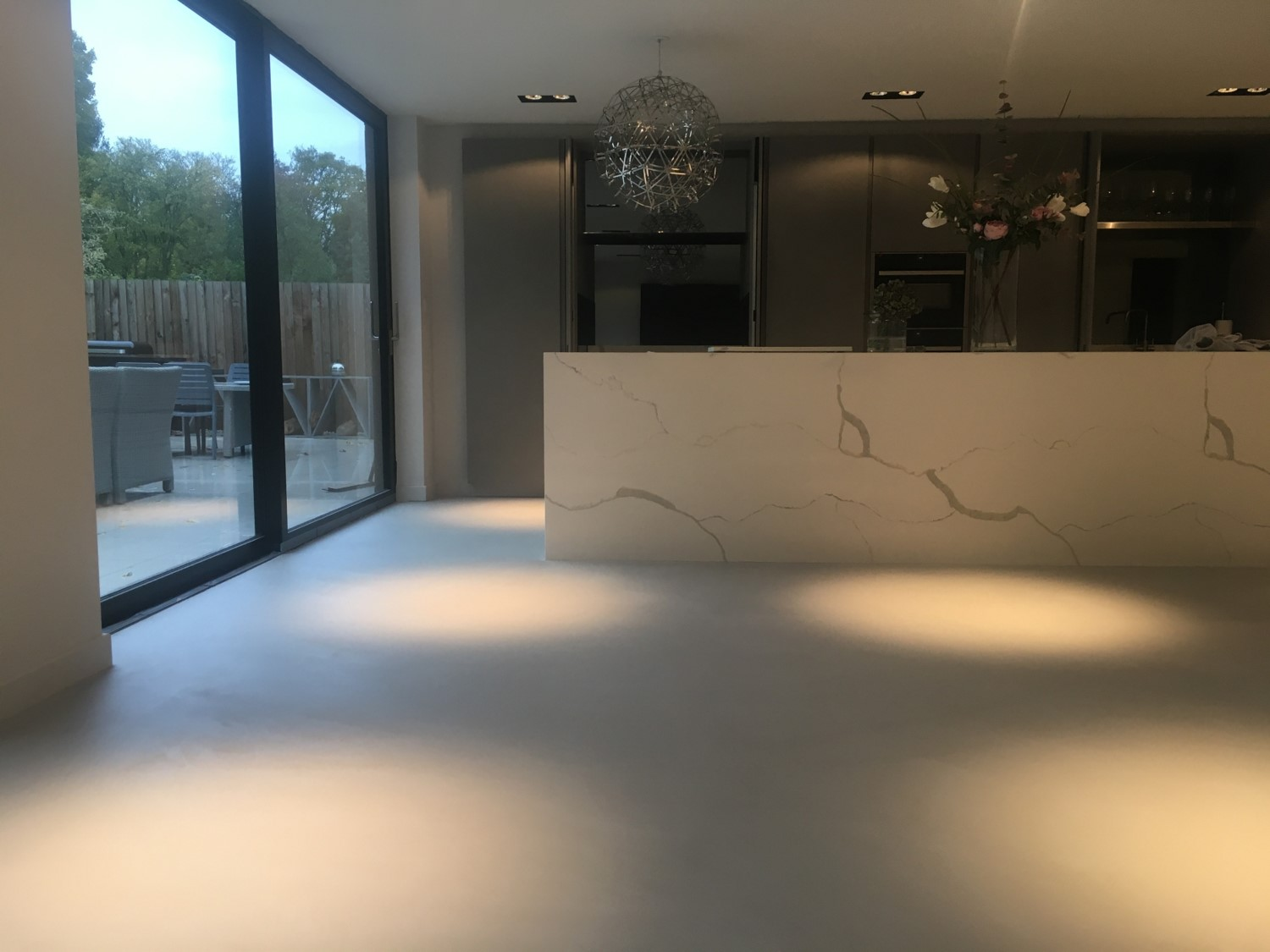 Polished concrete floors Ardex microtopping from Polished Concrete specialists in Fulbourne Cambridge Kitchen Diner
