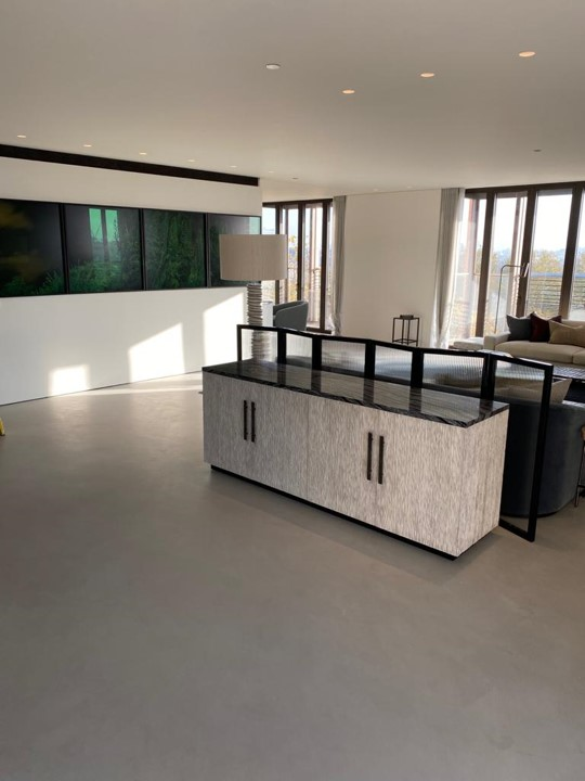 Polished concrete microtopping floors at luxury apartment in London Marylebone by Polished Concrete Specialists
