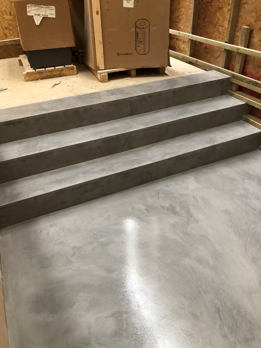 Ideal work microtopping microcement stairs by Polished Concrete Specialists in East Sussex 3
