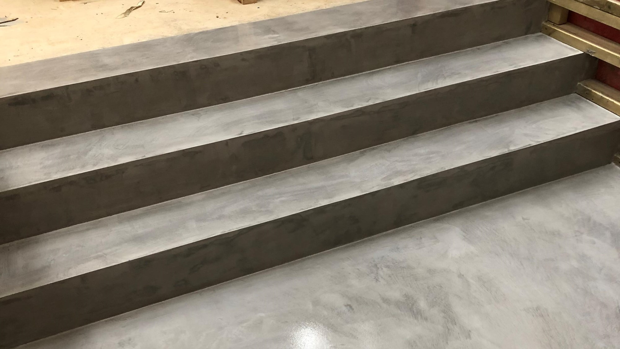 Ideal work microtopping microcement stairs by Polished Concrete Specialists in East Sussex close up